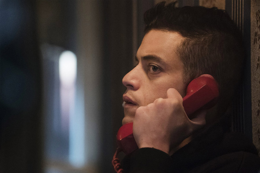 Rami Malek in Mr Robot on the phone