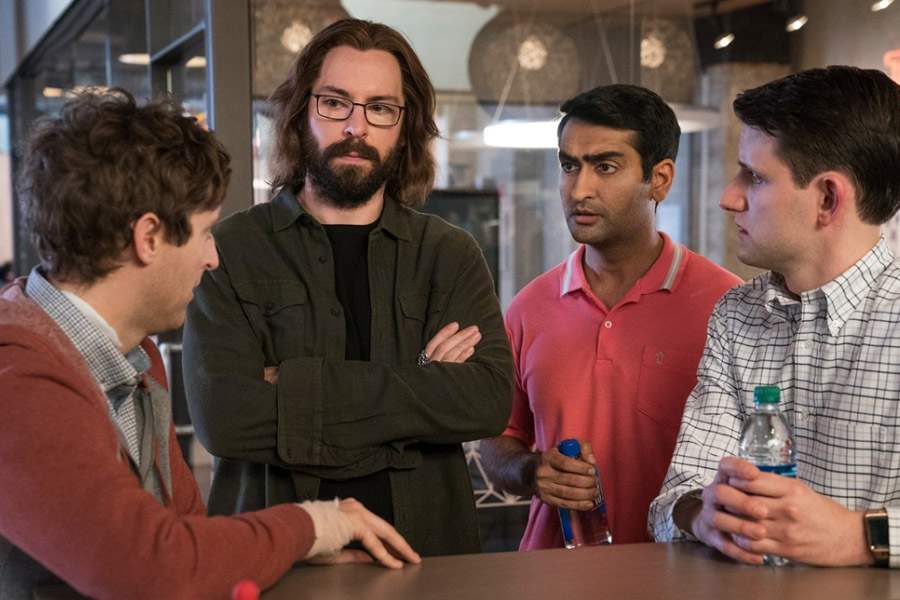 Martin Starr, Zach Woods, Thomas Middleditch, and Kumail Nanjiani in Silicon Valley