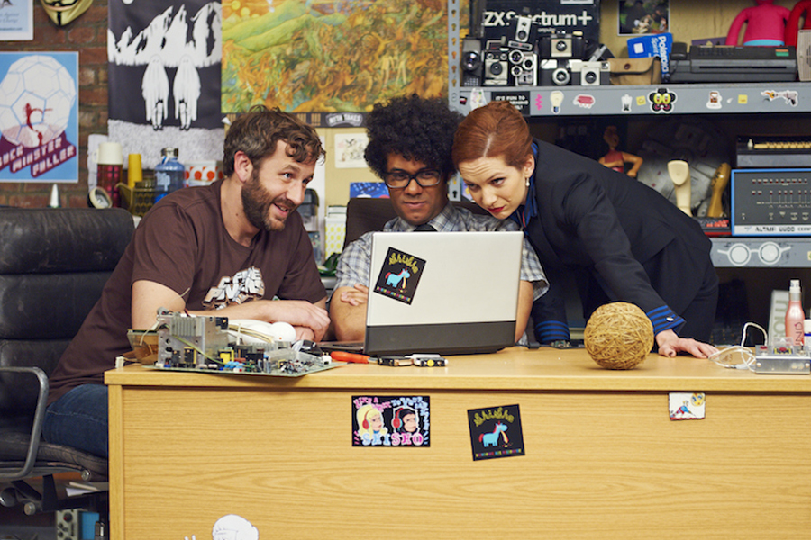 Chris O'Dowd, Richard Ayoade, and Katherine Parkinson in The IT Crowd