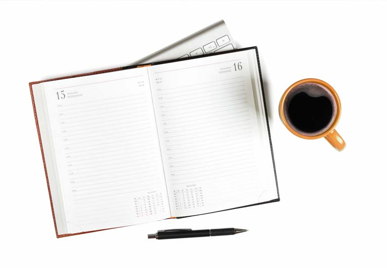 Cortex Diary keyboard coffee cup